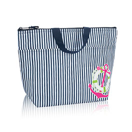 Thermal Tote in Navy Pinstripe w/ Anchor - 3000