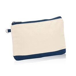 Mini Zipper Pouch in Natural (w/Navy) - 3013