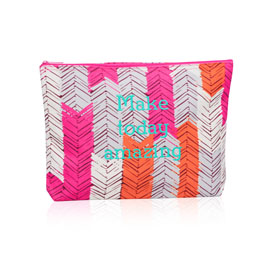 Zipper Pouch in Feather Chevron - 3045