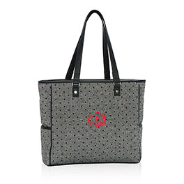 Cindy Tote in Black Tweed Dot - 3057