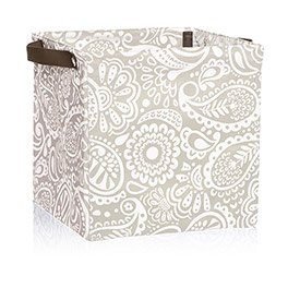 Square Storage Bin in Taupe Playful Parade - 4437