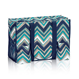 Zip-Top Organizing Utility Tote in Dotty Chevron - 4451
