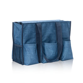 Zip-Top Organizing Utility Tote in Blue Crosshatch - 4451