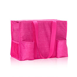 Zip-Top Organizing Utility Tote in Pink Crosshatch - 4451