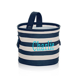 Oh-Snap Bin in Navy Rugby Stripe - 4598