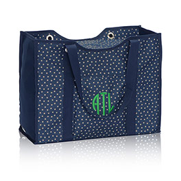 All-Day Organizing Tote in Navy Dancing Dot - 4777