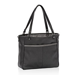 Townsfair Reversible Tote in Black Beauty Pebble w/ City Charcoal Snake - 4940