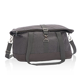 Fold-Over Weekender in City Charcoal Swiss Dot - 4990