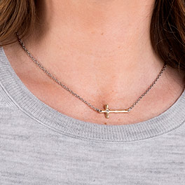 Whisper Cross Necklace in Two-Tone - 6147