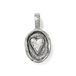 Wax Seal Charm - Heart in Antique Pewter - 6181