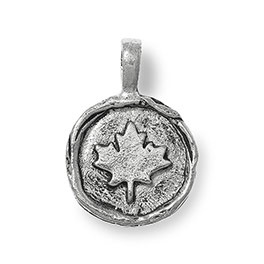 Wax Seal Charm - Canadian Maple Leaf in Antique Pewter - 6183