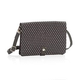 Double Up Crossbody in City Charcoal Swiss Dot - 6204