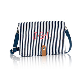 Double Up Crossbody in Navy Pinstripe - 6204