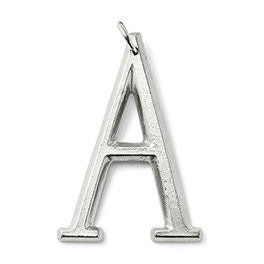 Bevel Letter Charm in Silver Tone Initial A - 8203