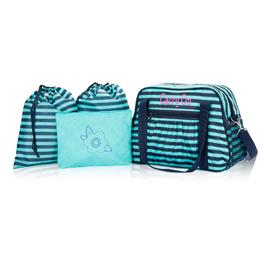 All-In Tote Bundle in Deep Sea Wave w/ Turquoise Cross Pop - 8209