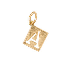 Square Stencil Charm in Gold Tone Initial A - 8369