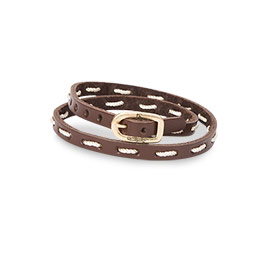 Leather Stitch Bracelet in Brown - 8393