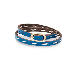 Leather Stitch Bracelet in Daring Cobalt - 8393